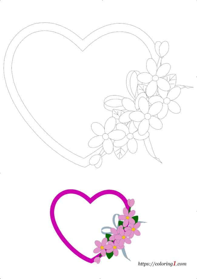 Flower Heart free printable coloring page for adults and kids