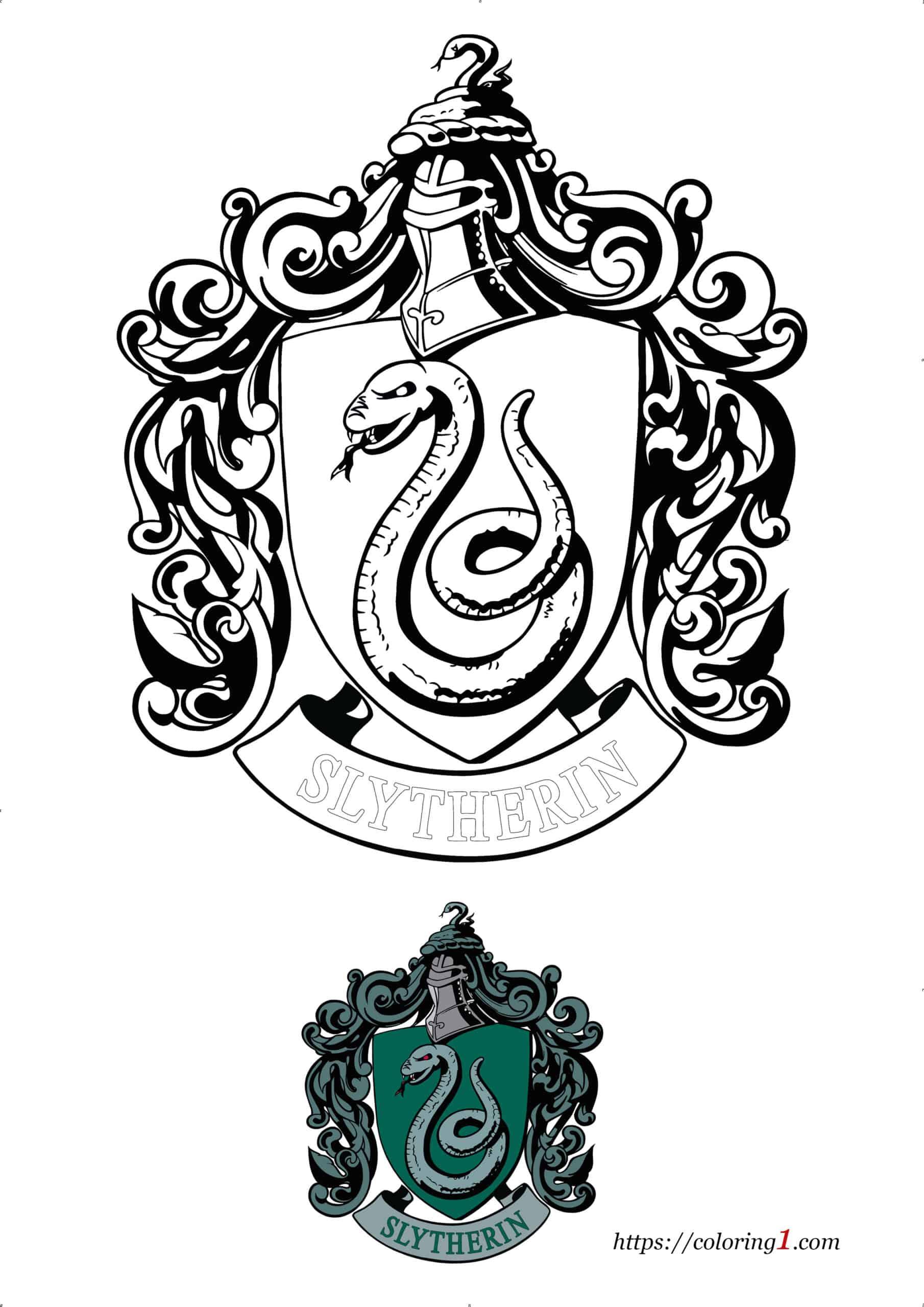 Coloriage Dessin Harry Potter Serpentard Pdf