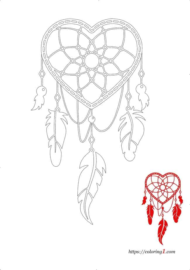 Heart Dream Catcher coloring image to print Jpg
