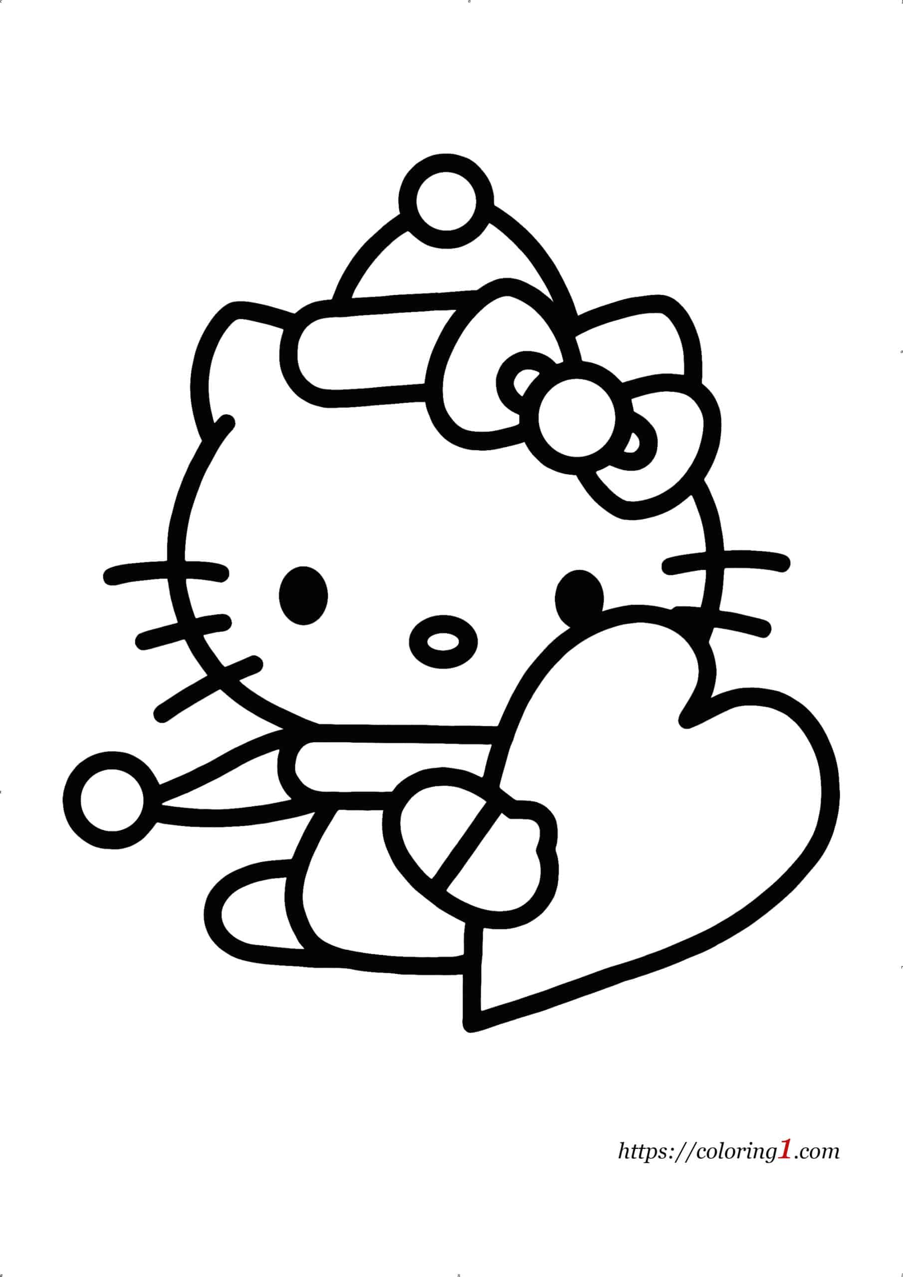 Coloriage Hello Kitty avec Coeur