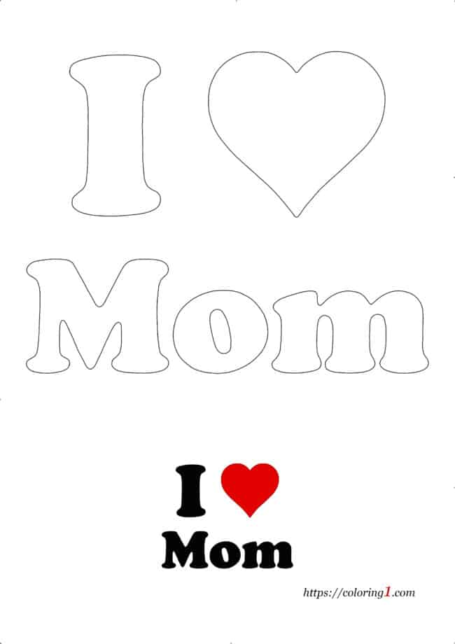 I Heart Mom free printable coloring page for adults and kids