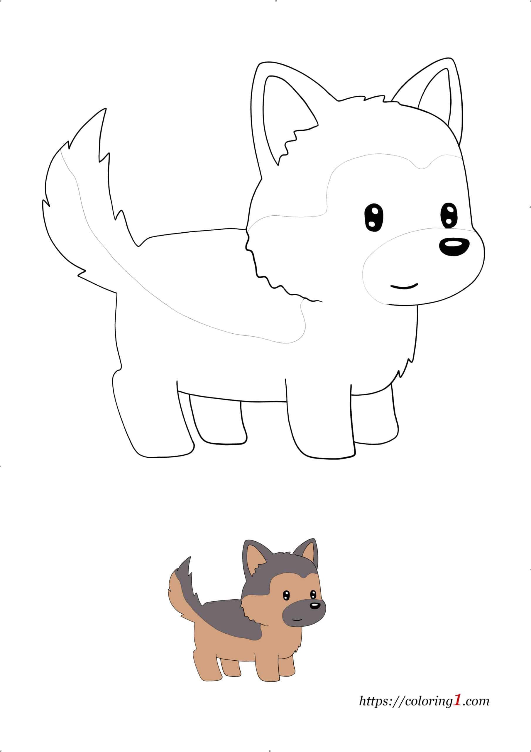 Anime Dog free printable coloring sheet with sample
