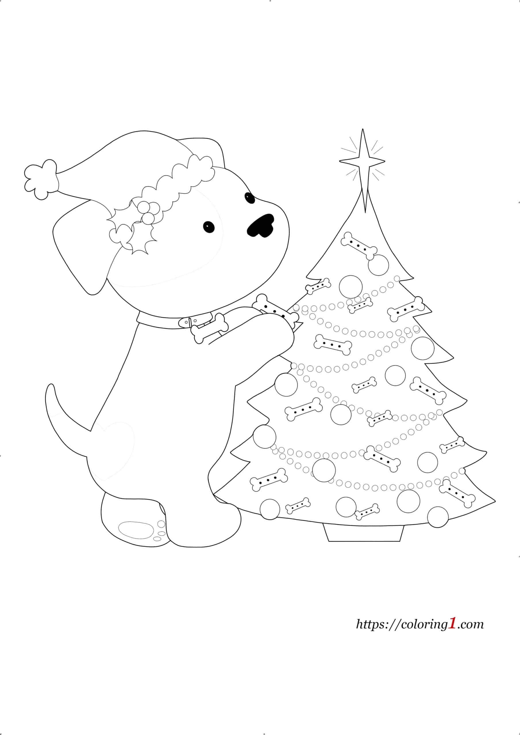 Christmas Dog coloring page for kids
