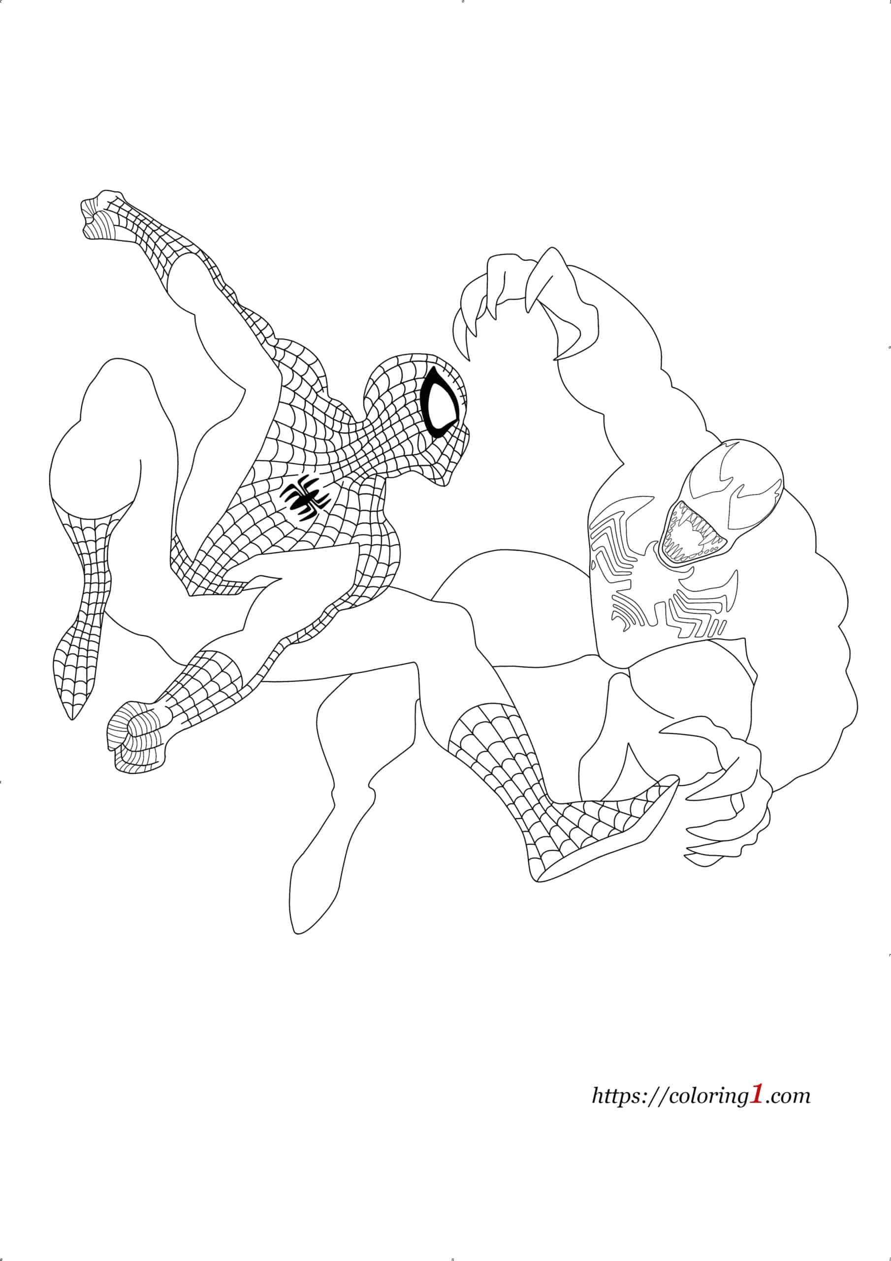 Venom vs Spiderman coloring page
