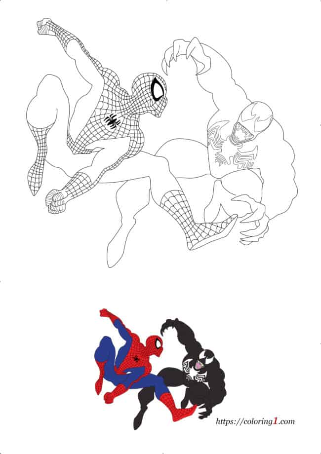 Venom vs Spiderman free printable coloring page for kids