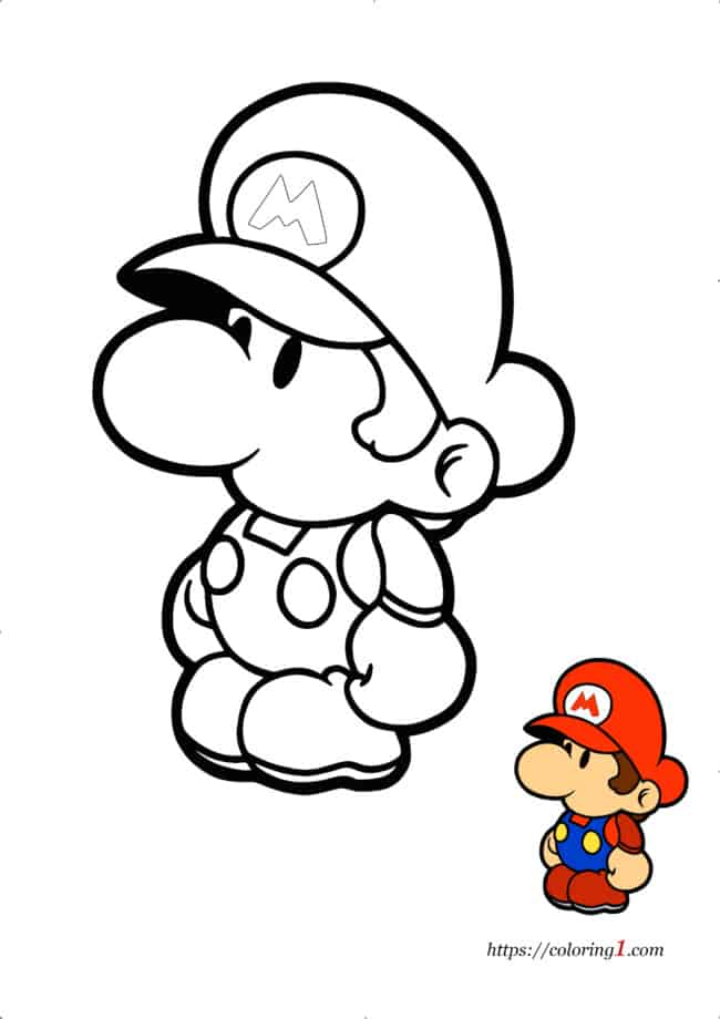 Coloriage Dessin Facile Bebe Mario à imprimer gratuit
