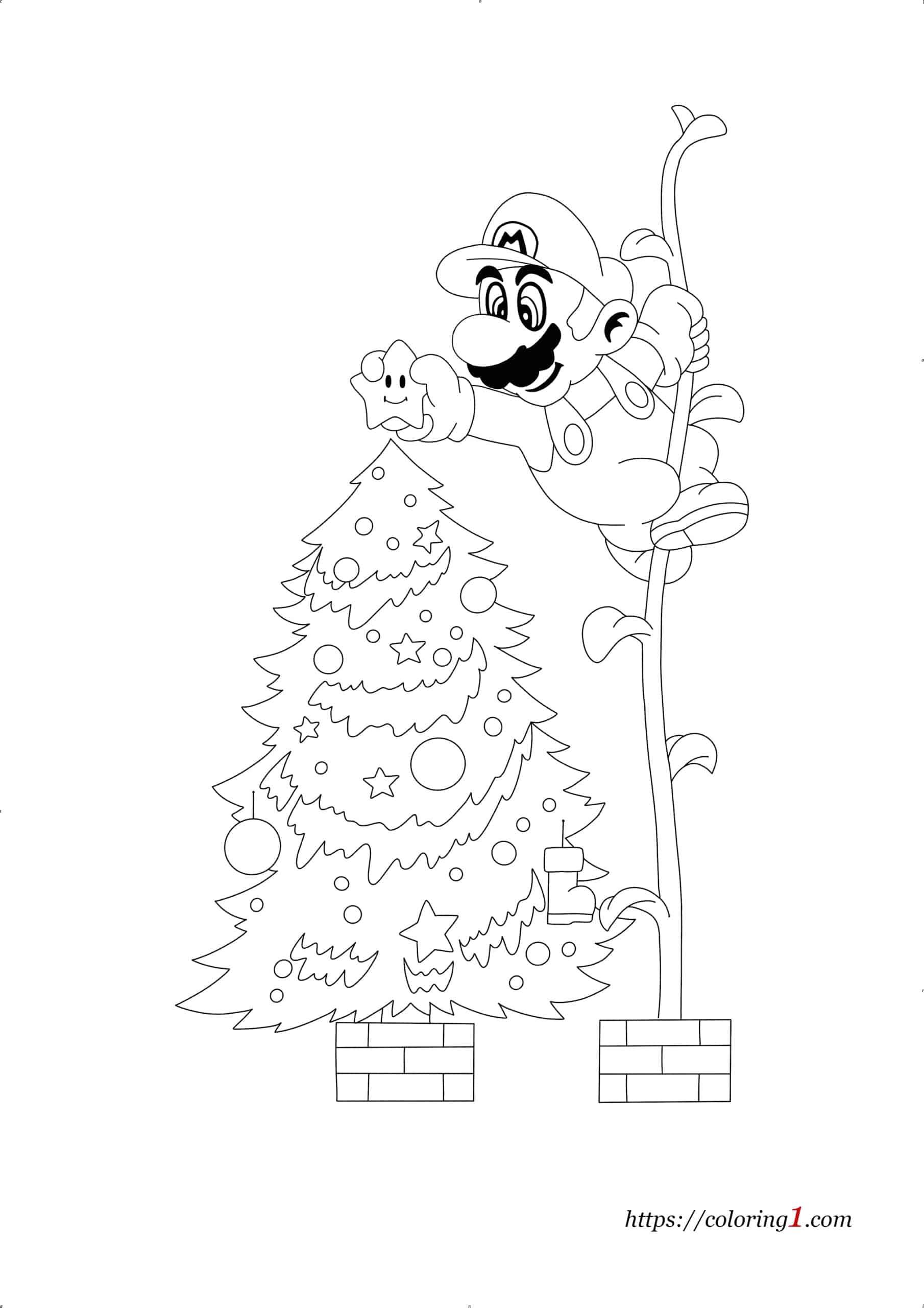 Mario Christmas free coloring page to print