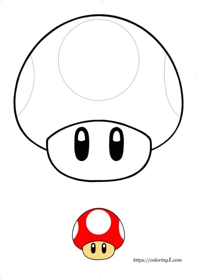 Coloriage facile Champignon Mario Toad à imprimer gratuit
