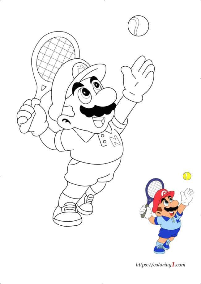 Coloriage Dessin Mario Tennis à imprimer gratuit