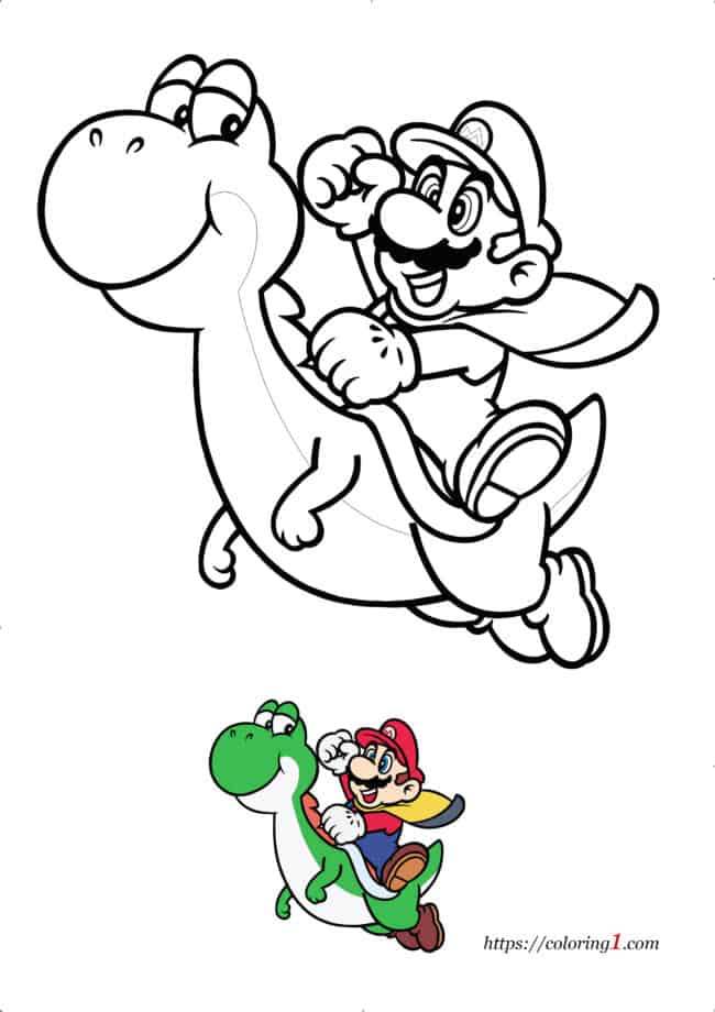 Coloriage Dessin Mario Yoshi à imprimer gratuit