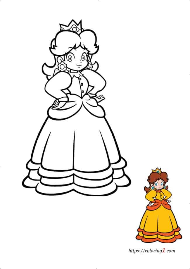 Coloriage dessin Daisy Mario à imprimer gratuit