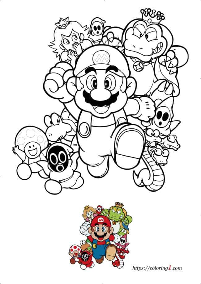 Coloriage Dessin Mario Bross à imprimer gratuit