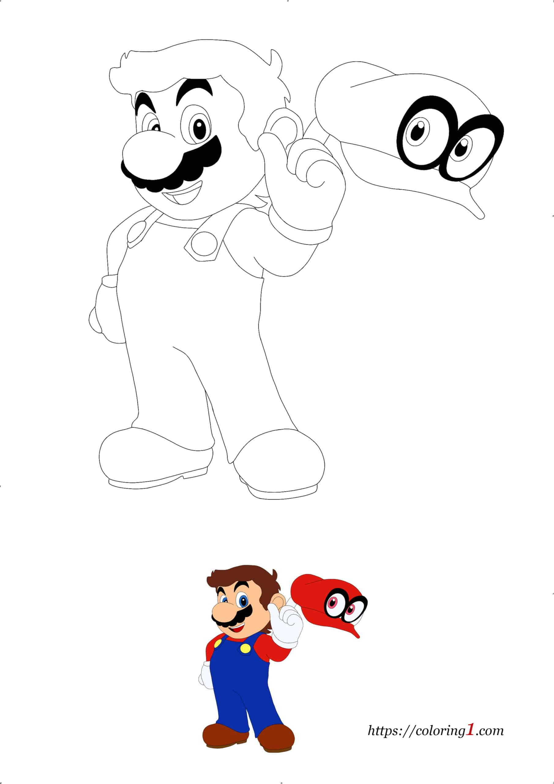 Super Mario Odyssey coloring book page for girls and boys