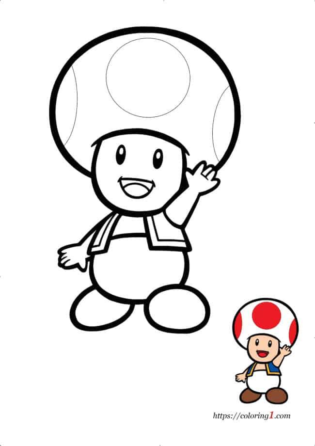 Coloriage Dessin Mario Toad à imprimer gratuit