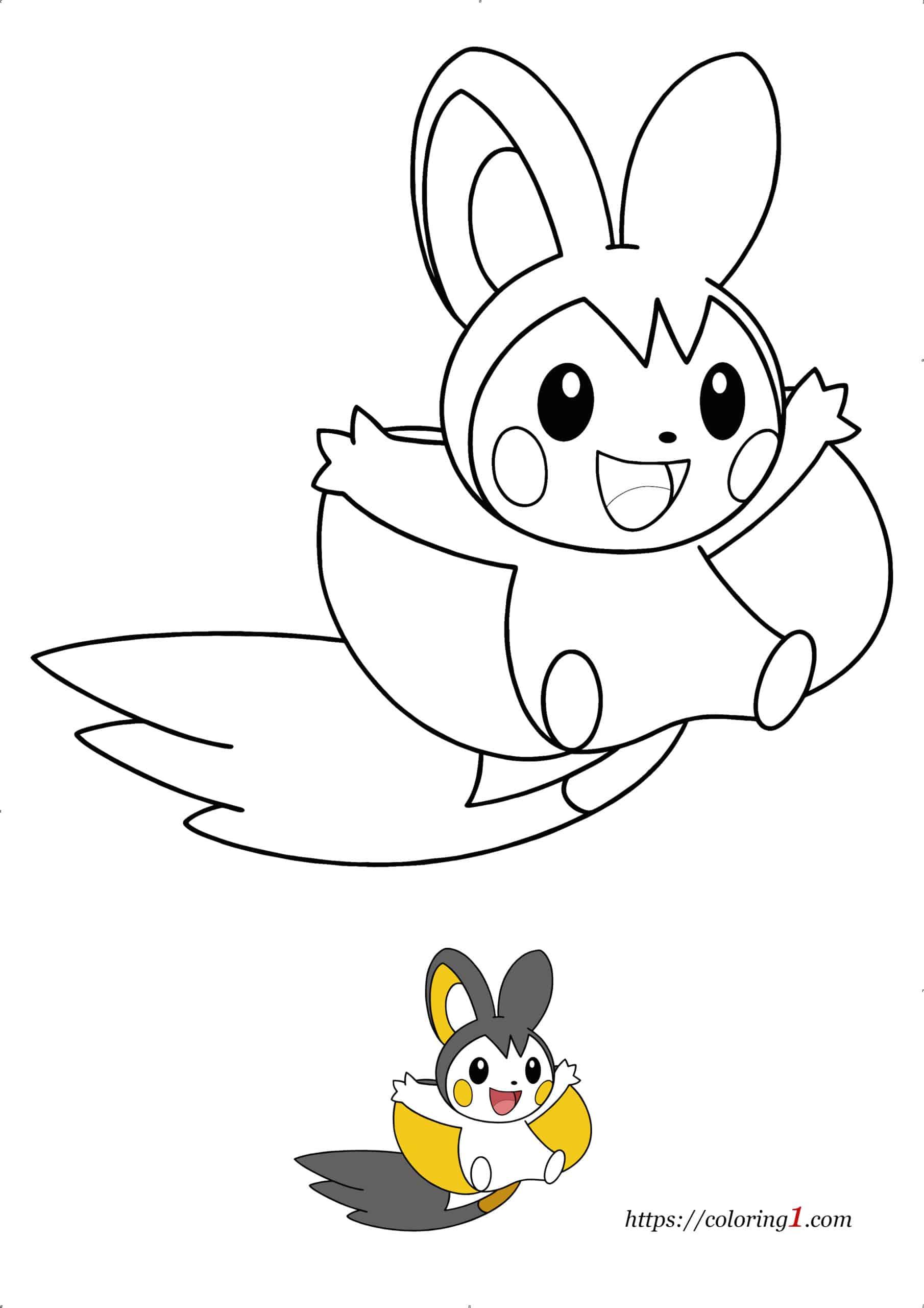 Coloriage Dessin Facile Pokemon Emolga à imprimer gratuit