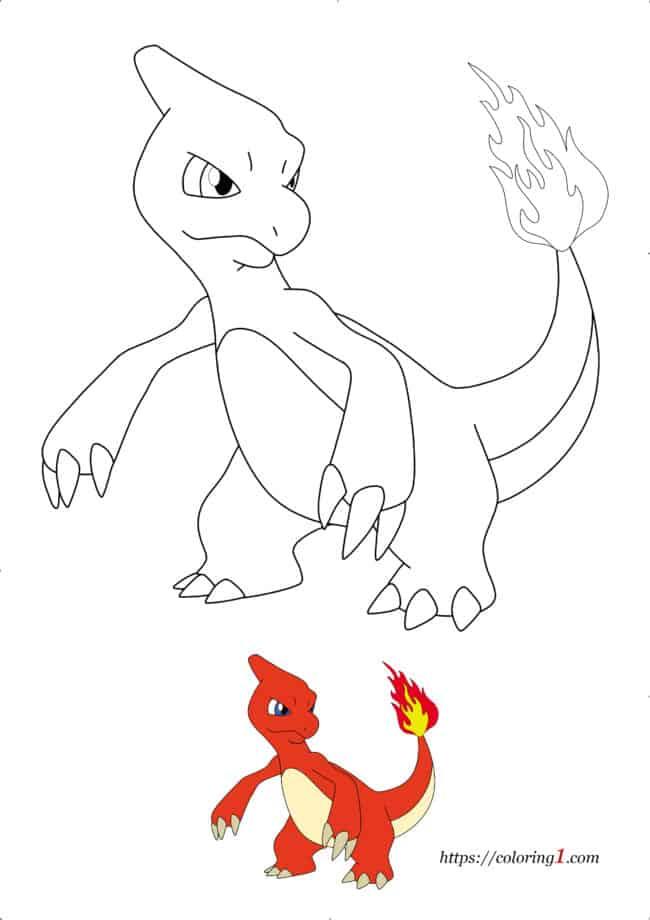 Coloriage Dessin Pokemon Reptincel à imprimer gratuit
