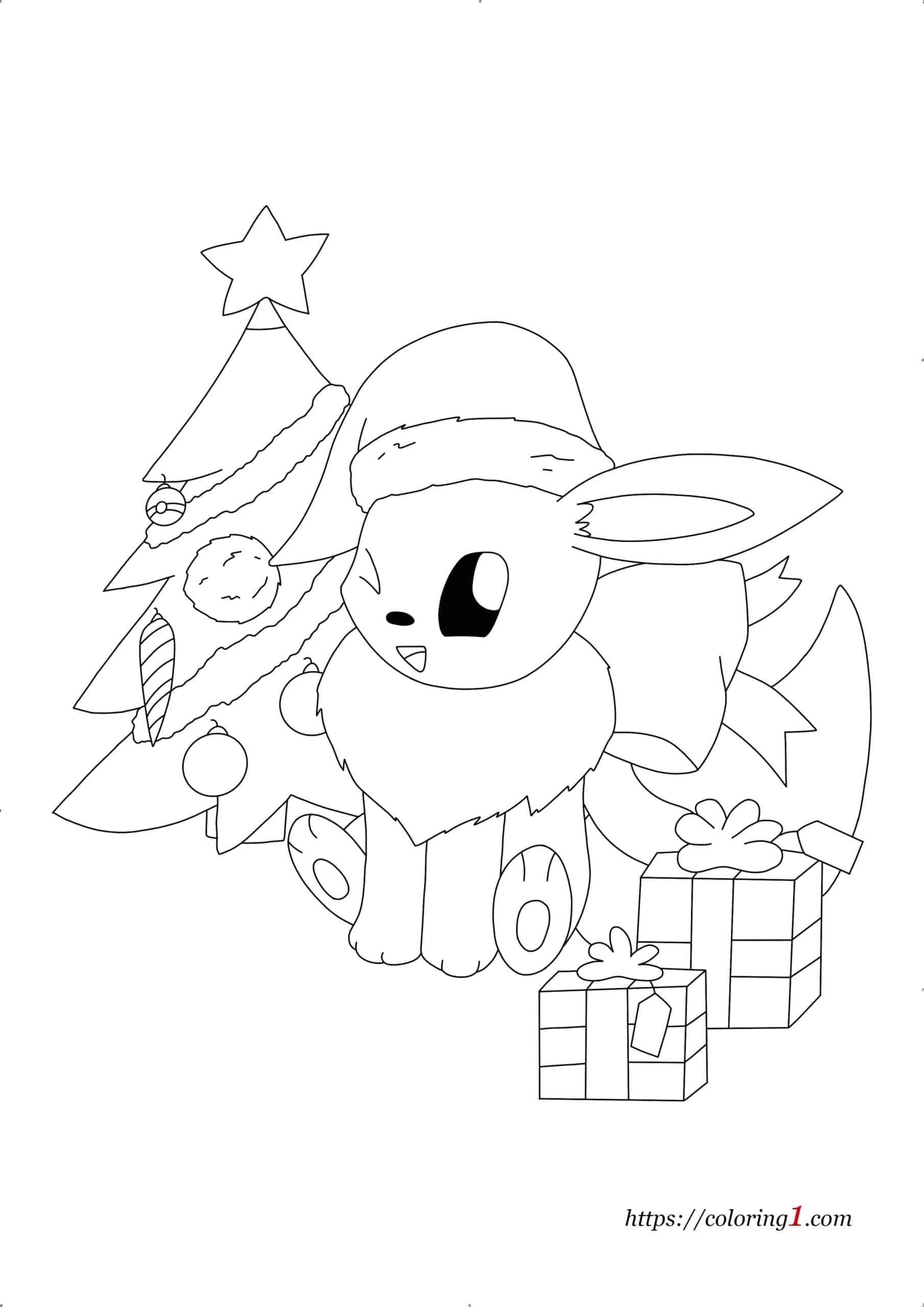 Coloriage Pokemon Evoli Noël