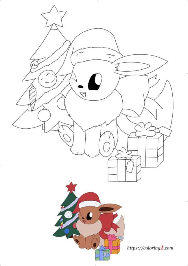 Coloriage Dessin Pokemon Evoli Noël à imprimer gratuit