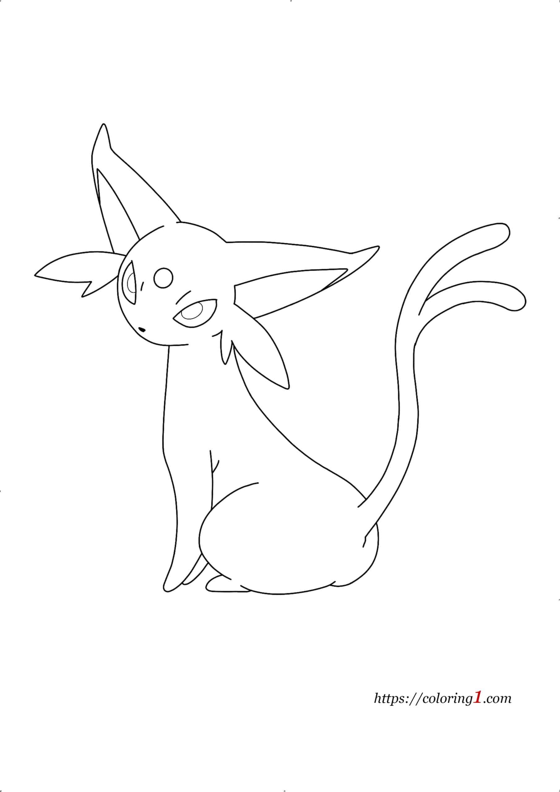 Pokemon Eevee Evolutions Espeon coloring page
