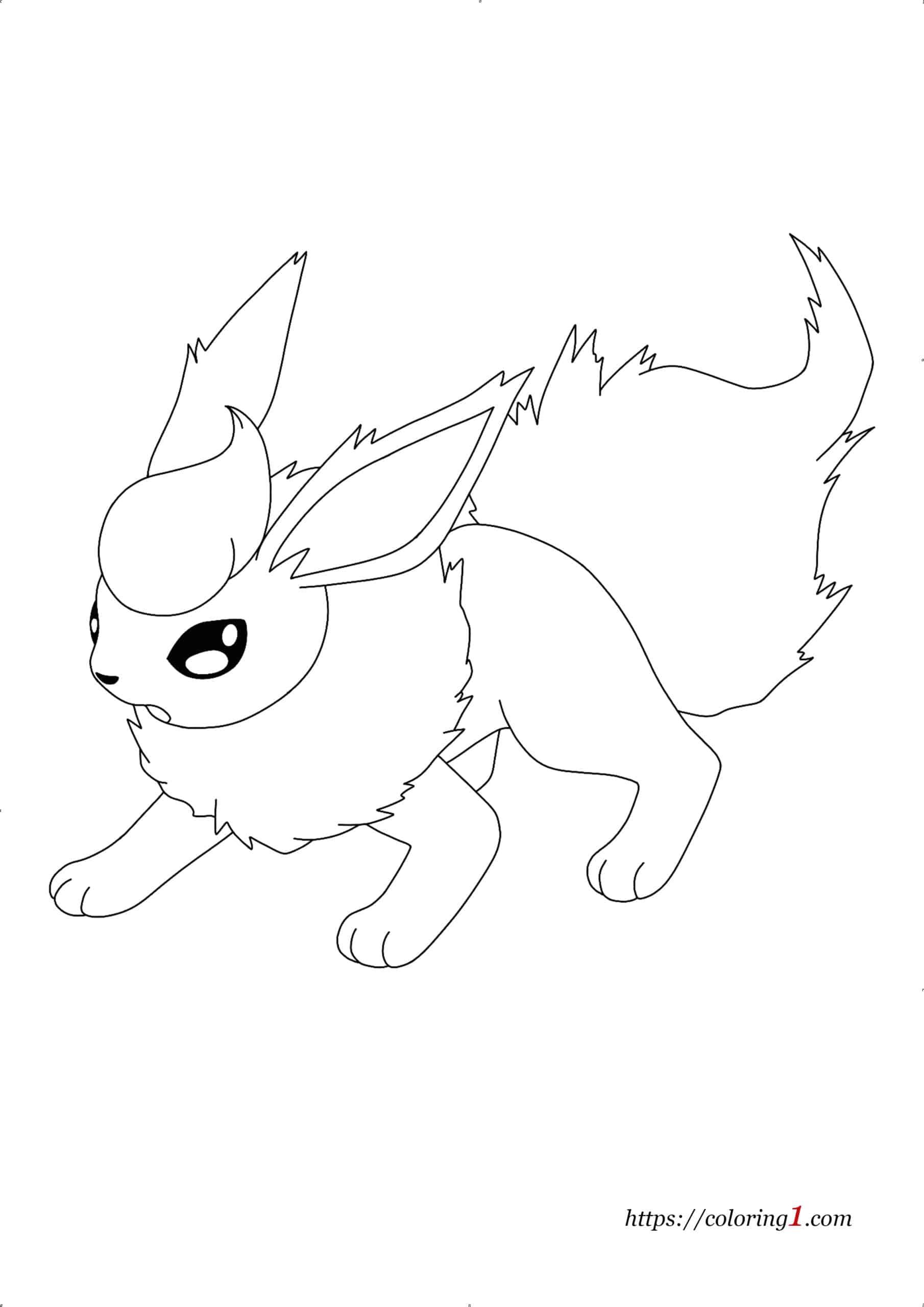 Pokemon Eevee Evolutions Flareon coloring page