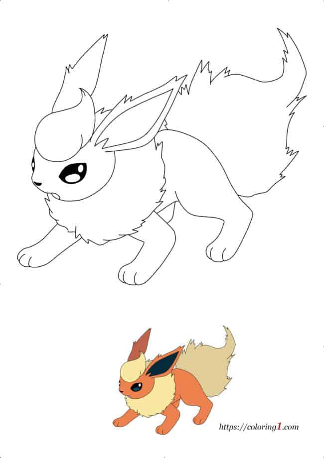 Coloriage Dessin Évolutions de Pokemon Evoli Pyroli à imprimer gratuit