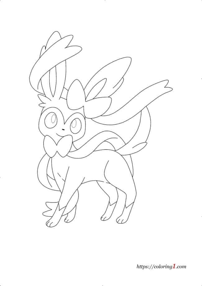 Coloriage Évolutions de Pokemon Evoli - Nymphali