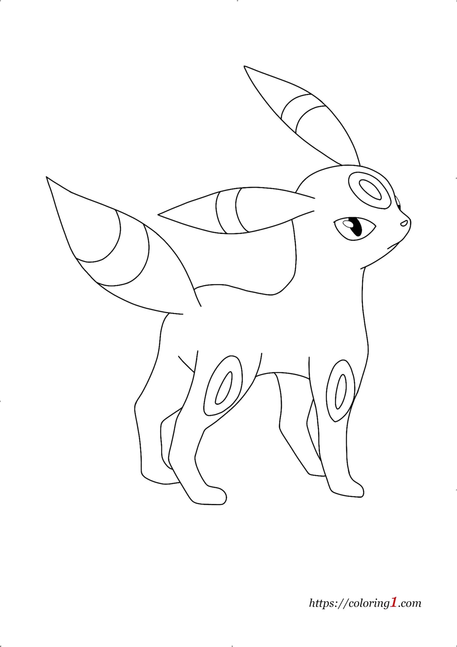 Pokemon Eevee Evolutions Umbreon coloring page