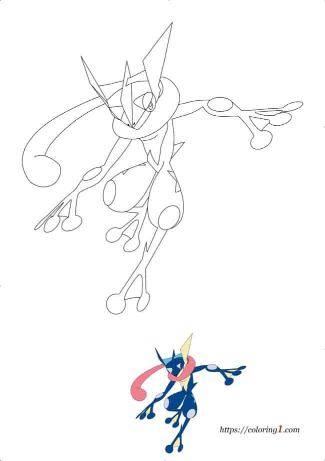 Coloriage dessin Pokemon Amphinobi à imprimer gratuit