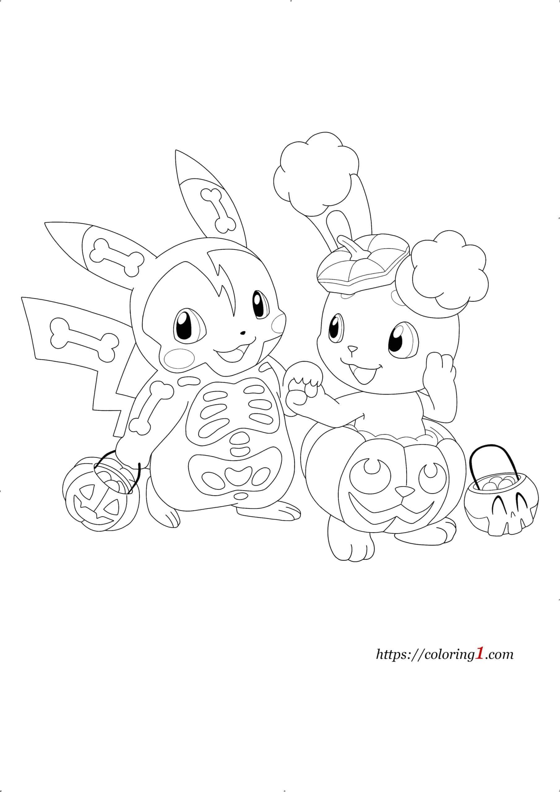 Pokemon Halloween coloring page to print