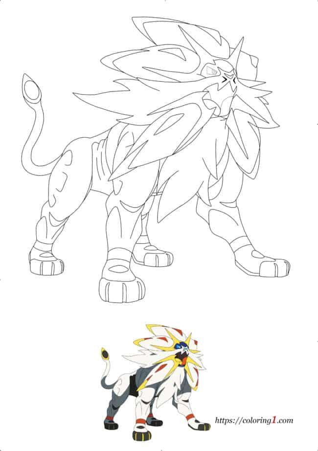 Coloriage Dessin Pokemon Solgaleo à imprimer gratuit