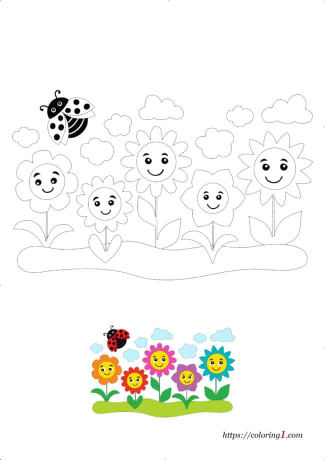 Coloriage Dessin Jardin de Fleurs à imprimer gratuit